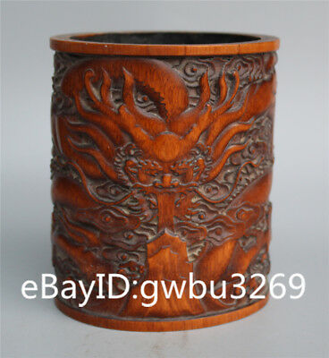Exquisite Asian Chinese Bamboo Pen holder  Hand Carved Dragon Brush Pot