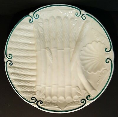 Antique-French-Majolica-Faiencerie D'Onnaing-White w/Green-Asparagus Plate-c1894