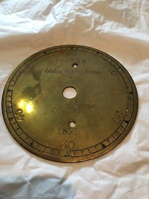 Antique Joseph Fairer Brass Minute Dial Clock Face Maker To Queen Victoria