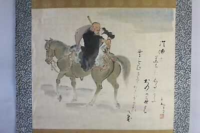 """Antique Japanese hanging scroll Handpainted on Paper  """"A Monk on the horse"""" s04"""