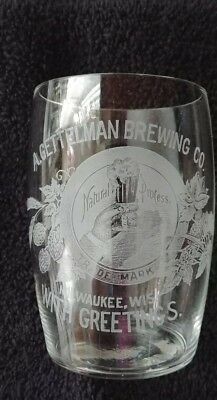 Rare A. Gettelman  Brewing Co Pre-Pro  Etched Shell Beer Glass Milwaukee Wis!