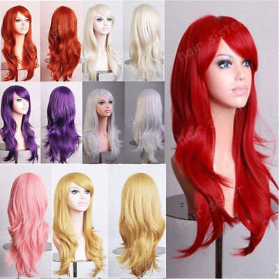 Fashion Women Long Hair Synthetic Full Wig Brown Blonde Blue Cosplay Anime Wig m