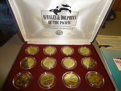 Marshall Islands Whales and Dolphins of the Pacific $10 Brass Coin Set - 1993