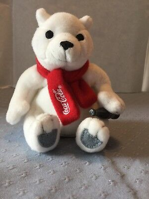 "Coca Cola Polar Bear Plush 3.5"" with Red Scarf"