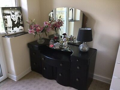 Stunning Vintage Art Deco Dressing Table & Mirror with Drawers