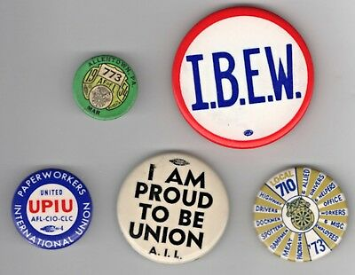 Vintage Lot 5 Labor Pins Buttons: Proud to Be Union, IBEW, AFL-CIO Teamsters