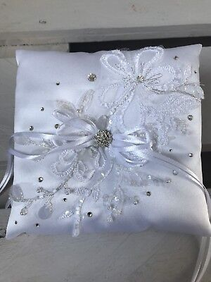 FAB White Wedding Ring Cushion Bearer Pillow Luxury Beaded Floral Lace GLAM
