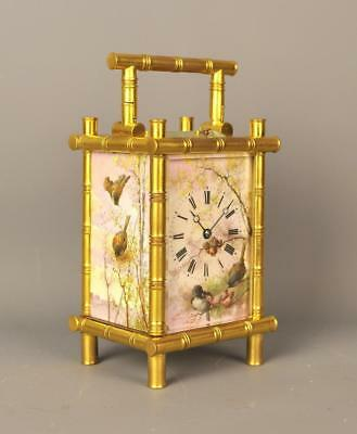 Fine Porcelain Bamboo Repeating Carriage Clock