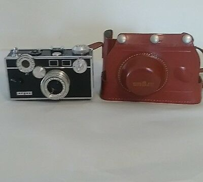 ARGUS C3 CAMERA  VINTAGE 50m COLOR-MATIC W/COATED CINTAR LENS & LEATHER CASE