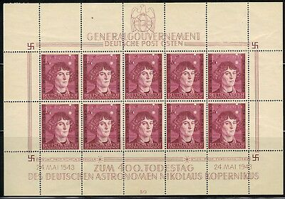 Germany General Government in Poland #NB27 Sheet of 10 1943 MNH