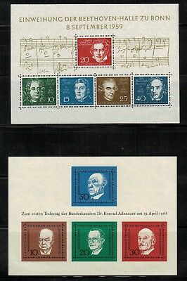 Germany #804,982 Sheets of 5 & 4 1959-68 MNH