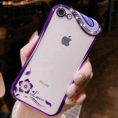 For iPhone X 7 8 6s Plus 6 Luxury Bling Diamond Flower Soft .