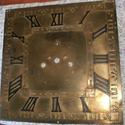 "Antique  Longcase / Grandfather  Clock  Square Brass  14""  Dial"