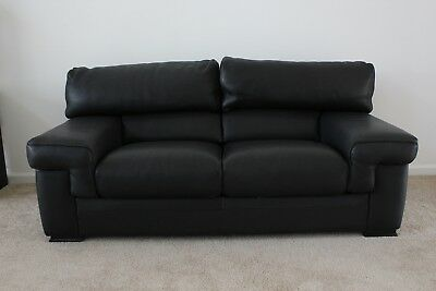 CONTEMPORARY BLACK LEATHER SOFA from Roche Bobois 2 seating ...