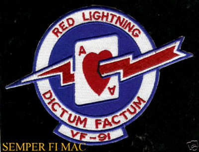 Vf91 Red Lighting Patch Us Navy Pin Up Uss Dictum Factum Aircrew Nas Naf0