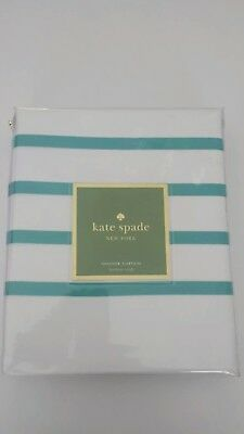 Kate Spade Harbour Stripe Turquoise Blue Green White Shower Curtain Stripes New