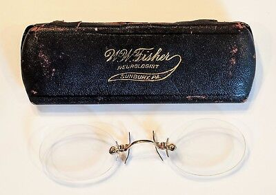 c.1900 PINCE NEZ SUNBURY, PA HISTORY EYEGLASSES IN FITTED CASE W.W. FISHER GF