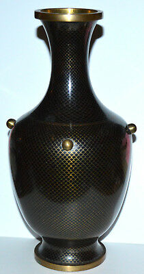 """Antique Chinese 9"""" Cloisonne Black Fish Scale Vase With Unusual Decoration"""