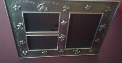 Embossed, Engraved Pewter Baby Photo Frame, Holds 3 Photos (1) 4x6 (2) 2x3