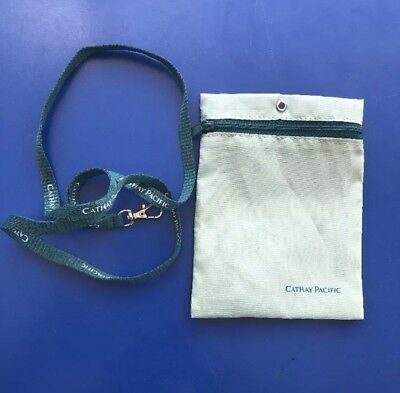 CATHAY PACIFIC AIRLINE Zip Pouch  Lanyard Neckstrap ~RARE~ Free Shipping