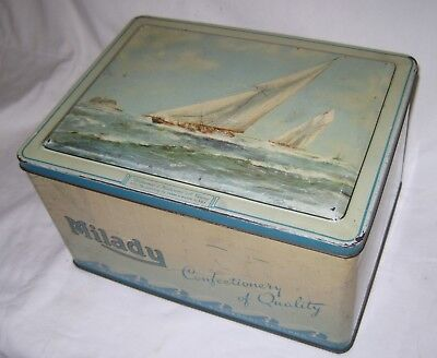 "Large Vintage Milady "" Britannia & Westward "" off Cowes Tin"