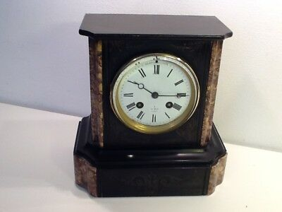 Antique French ,Henry Marc Black Slate and Peach Marble Victorian Mantel Clock