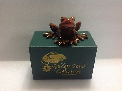 """Golden Pond Collection By Green Tree Multi-Color Ceramic Frog 2.5"""" Tall 4.5""""Wide"""