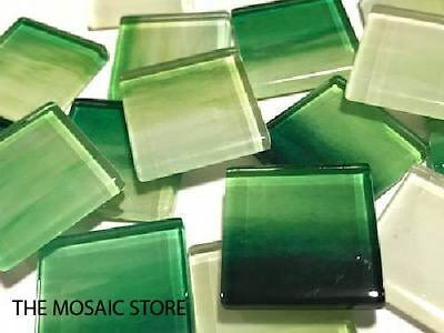 Green Watercolour Glass Mosaic Tiles 2.5cm No. 10 - Mosaic Tiles Supplies Craft