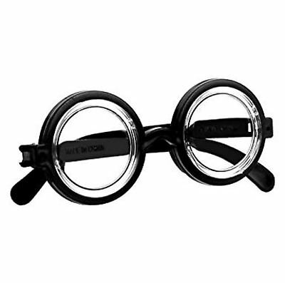 NERD Black GLASSES Round Thick FANCY DRESS COSTUME Geek Retro Joke Funny .
