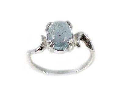 18thC Antique Gem Aquamarine Cab Ancient Greek Mariner Talisman Sterling Ring