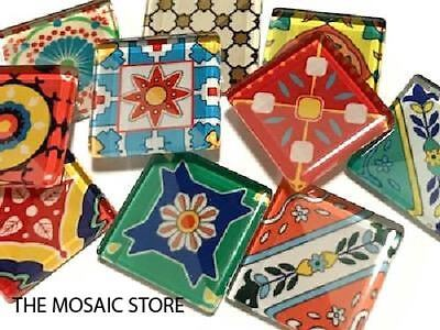 Spanish Inspired Mosaic Glass Tiles 2.5cm Mix 3 - Craft Art Supplies