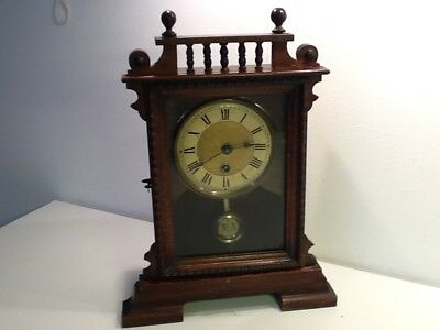 Vintage French Carved Pine Box Style Open Pendulum Mantel Clock