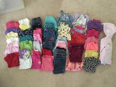 47 pc. Lot Of Girls Size 24 mos- 2T Outfits and pieces to create a wardrobe.