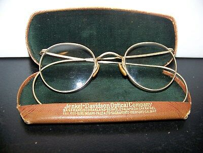Vintage Gold Wire Rim Glasses - Nice with Case