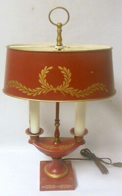 Vtg Red TOLE Metal Bouillotte Urn Table Lamp  french Empire Napoleonic Acanthus