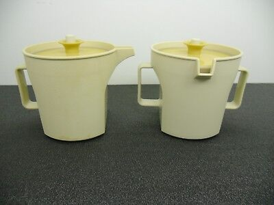 Vintage Tupperware Creamer Sugar Set Almond w Harvest Gold Lids 1414-3 1415-3