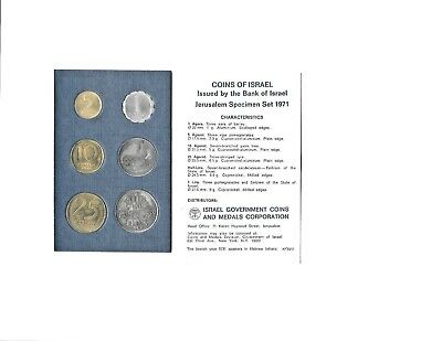 Israel 1971 Jerusalem Specimen Issue Coin Set In Original Sealed Plastic Folder