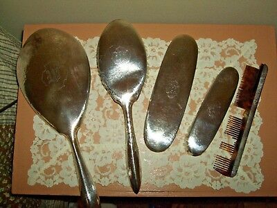 Antique Sterling Silver Hand Hammered mirror  - brushes vanity grooming set