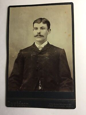 Cabinet Photo Handsome Young Man BIG MUSTACHE and ASCOT with PIN