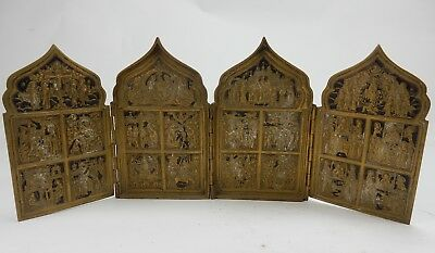 ANTIQUE Imperial Russian 4 panel Bronze icon of the life of Christ black Enamel