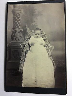 Cabinet Photo CUTE BABY IN GOWN TALL CHAIR JOHN PFLAUM PHOTOGRAPHER