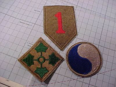 Original Wwii Us Lot Of 3 D-Day Division Patches 1St / 4Th / 29Th