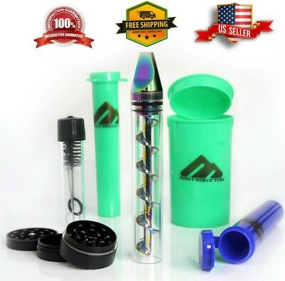 Twist Twisty Glass Blunt Pipe 3 Containers Grinder Brush Smoking Kit (Rainbow)