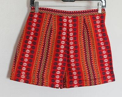 VTG 60s 70s MOD GO GO Colorful High Waist Tapestry Shorts FESTIVAL