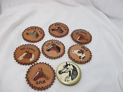 Stamped Leather Hand Painted Horse Awards Medallions for Crafts Horse Lovers