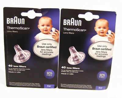 2 Braun ThermoScan LENS FILTERS replacement EAR thermometer = 80 covers LF40US01