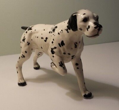 "Vintage Ceramic Black & White Pointer Dog Figurine - 6"" tall"