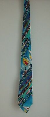 1994 Nicole Miller 100% Silk Hand Sewn Boating Themed Tie
