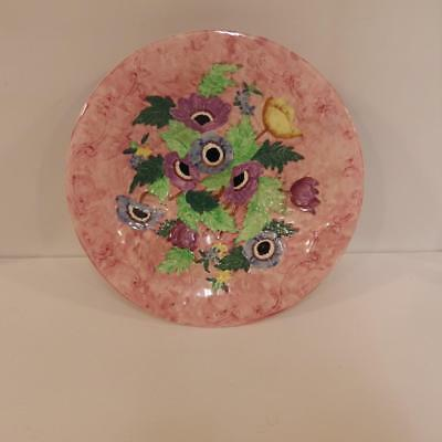 """Maling pottery 11"""" plate on rim foot""""anemone embossed rose"""" pattern 6534,1950's"""