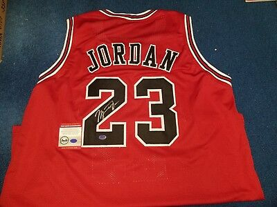 ad4aeaf9257 Michael Jordan autographed/signed Chicago Bulls Red/black custom jersey w/ coa